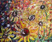 Field Of Sunflowers Paintings - Field of Sunflowers by Darlene Keeffe