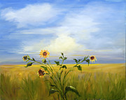 Field Of Sunflowers Paintings - Field of Sunflowers by Pati Pelz
