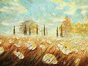 Tuscany Vineyard Oil Paintings - Field of White Blossoms I I by Christopher Clark