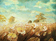 Tuscany Vineyard Oil Paintings - Field of White Blossoms II by Christopher Clark