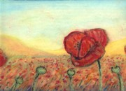 Outsider Pastels Prints - Field Poppies Print by Robert Wolverton Jr