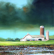 Farm Fields Paintings - Field Puddles by Toni Grote