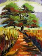 Expressionist Drawings - Field Road by John  Williams