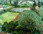 1889 Posters - Field with Poppies Poster by Vincent Van Gogh