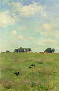 Bird On Tree Painting Prints - Field with Trees and Sky Print by Walter Frederick Osborne