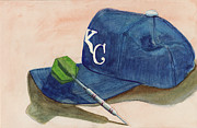 Baseball Cap Painting Prints - Fielder Print by Terry Lewey
