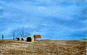 Hay Bales Pastels Framed Prints - Fields At Rest Framed Print by Jan Amiss