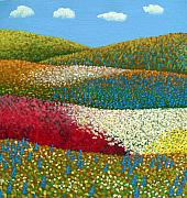 Fields Of Flowers Paintings - Fields of Flowers by Frederic Kohli