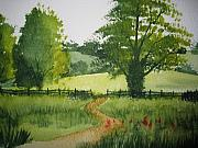Farm Fields Painting Originals - Fields of Green by Shirley Braithwaite Hunt