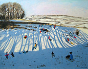 Sledding Framed Prints - Fields of Shadows Framed Print by Andrew Macara