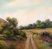 Wa Painting Metal Prints - Fields Road Metal Print by Bonnie Zahn  Griffith