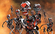 Mechanism Digital Art Metal Prints - Fierce Androids Riot The City Of Tokyo Metal Print by Mark Stevenson