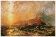 The Heavens Paintings - Fiercely the red sun descending Burned his way along the heavens by Thomas Moran