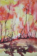 Wet Into Wet Watercolor Prints - Fiery Print by Chris Blevins