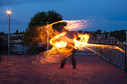 Energetic Metal Prints - Fiery Dancer Metal Print by Mike Reid