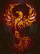 Myth Mixed Media Prints - Fiery Phoenix Print by Robert Ball