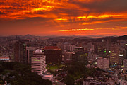 Fiery Seoul Sunset Print by Gabor Pozsgai
