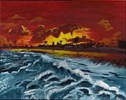 Oceans Drawings Prints - Fiery Skies and Deep Blue Seas Print by Beverly Marshall