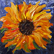 Sunflower Oil Paintings - Fiery Sunflower by Eva Kondzialkiewicz