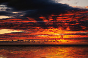 Fiery Clouds Framed Prints - Fiery Sunset on the Ocean Framed Print by Hakon Soreide