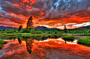 Red Mountains Prints - Fiery Sunset Print by Scott Mahon