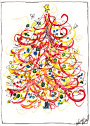 Gel Pens Acrylic Prints - Fiesta Christmas Tree Acrylic Print by Michele Hollister - for Nancy Asbell