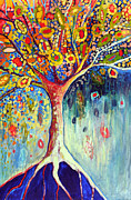 Red Tree Paintings - Fiesta Tree by Jennifer Lommers
