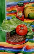 Green Beans Paintings - Fiesta by Virginia Potter