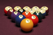 Recreational Pool Posters - Fifteen Billiard Balls Arranged In Triangle On Pool Table Poster by Nathan Allred