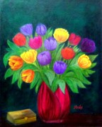 Anke Wheeler Paintings - Fifteen Tulips by Anke Wheeler