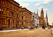 Horse And Buggies Framed Prints - Fifth Avenue and 51st Street New York City 1900 Framed Print by Padre Art