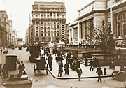 Horse And Buggies Framed Prints - Fifth Avenue and New York City Public Library 1908 Framed Print by Padre Art