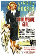 Wolfhound Framed Prints - Fifth Avenue Girl, Ginger Rogers, 1939 Framed Print by Everett