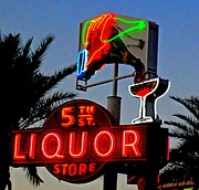 Electric Signs Posters - Fifth Street Liquor Poster by Randall Weidner