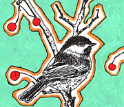 Black Berries Mixed Media Posters - Fifties Cheeky Chickadee Poster by Julia Forsyth