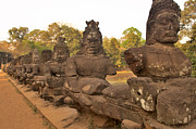 Angkor Thom Prints - Fifty Four Asuras Along Causeway To Angkor Thom Print by Jim Simmen