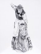 Horse Drawing Mixed Media Prints - Fifty to One What Print by Joette Snyder