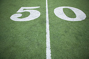 Turf Art - Fifty Yard Line On Sports Field by O