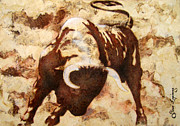 Bulls Mixed Media Originals - Fight Bull by Juan Jose Espinoza