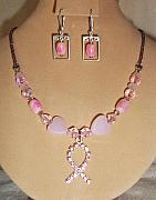Hearts Jewelry - Fight Cancer with Pink Necklace Set by Kim Souza
