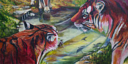 Tigers Paintings - Fight or Flight by Tyler Auman