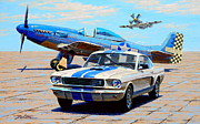 Plane Painting Framed Prints - Fighter and Shelby Mustangs Framed Print by Frank Dalton