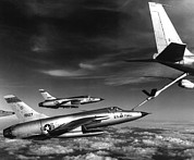 Mid-air Prints - Fighters Refuel Over Vietnam. Us Air Print by Everett