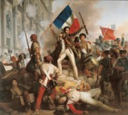 Flag Painting Framed Prints - Fighting at the Hotel de Ville Framed Print by Jean Victor Schnetz