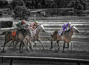 Race Horse Photos - Fighting to Win 2008 by Joseph Duba