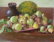 Cantaloupe Painting Prints - Figs and Cantaloupe Print by Ylli Haruni