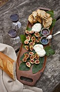 Balsamic Vinegar Photo Posters - Figs And Cheese Poster by Lew Robertson/Fuse