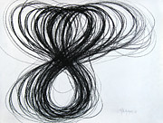 Coal Drawings Prints - Figure-Eight Study Number Eight Print by Michael Morgan