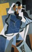 Oil Figure Framed Prints - Figure of a Woman Framed Print by Juan Gris