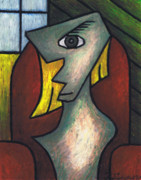 Cubism Pastels - Figure Sitting on Red Chair by Kamil Swiatek